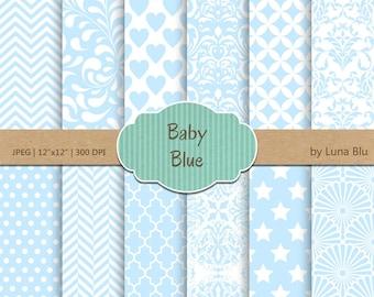 "Baby Blue Digital Paper: ""Baby Blue Patterns"" soft blue, light blue, pale blue, pastel blue, for invitations, scrapbooking, cardmaking"