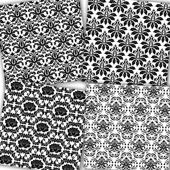 "Black and White Damask Digital Paper: ""Black and White ..."