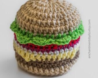 Crochet Cheese Burger Hat