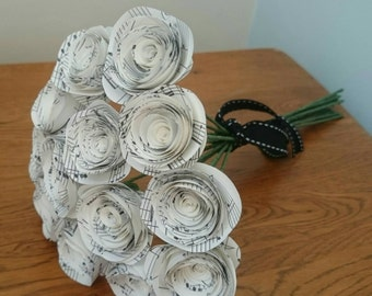 Rolled paper rose bouquet made from vintage book pages