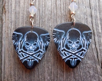 White Skull and Crossbones with Wings Guitar Pick Earrings with Crystals