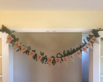 Christmas in July Sale!!! Happy Holidays Burlap Banner