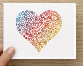 Valentine's Day: Heart made of heart note card.  Personally designed.  Package of 10, 20, 30 or 40.