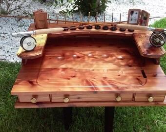 "Fly Tying Bench/ Desk - Handmade Rustic Cedar - 30""W x 23""D x 11""H."