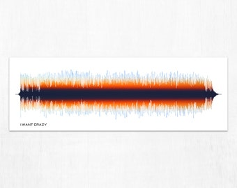 I Want Crazy - Country Song SoundWave Art - Created From Entire Song