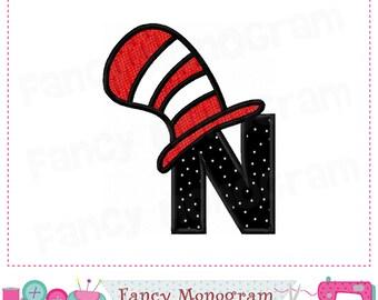 Cat hat Monogram N applique,Cat hat Letter N applique,N,Cat hat,Font N,Letter N,Cat hat applique,N,Alphabet,Birthday letter design.-01