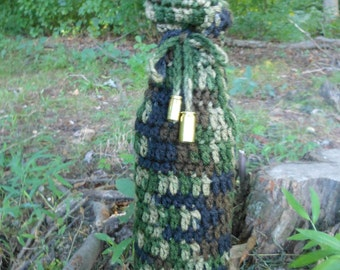Crochet camo wine bottle cover, beverage camouflage gift bag, sports people, hunters, military, empty bullet shells, knit tote bag, under 10