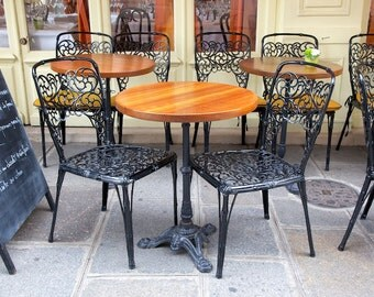 Paris photography, Paris cafe chairs, sidewalk cafe chairs, ironwork, iron chairs, French wall art, Paris decor, fine art print