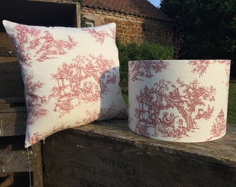 French Toile De Jouy Cushion Cover - Rustic Red 16cm