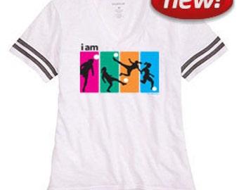 I Am Soccer White Sporty Slub T-Shirt
