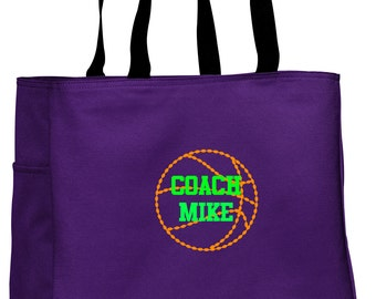 Personalized Tote Bag Embroidered Tote Bag Custom Tote Bag - Sports - Basketball - B0750