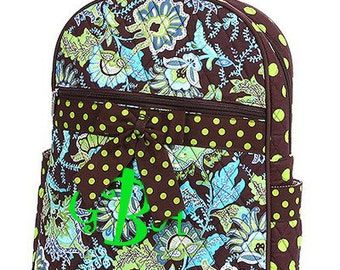"Personalized Quilted Paisley Backpack with Bow - Large 15"" Lime Brown Turquoise with Polka Dot Accents - QF2746-BRLM"