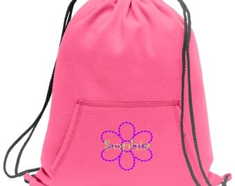 Sweatshirt material cinch bag with front pocket and embroidered spirit design - Flower - Multiple Colors - Camouflage - BG614