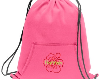 Sweatshirt material cinch bag with front pocket and embroidered spirit design - Hibiscus - Multiple Colors - Camouflage - BG614