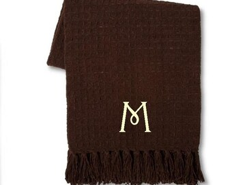 Personalized Brown Chenille Blanket- Very Soft!  You choose how you want it monogrammed!