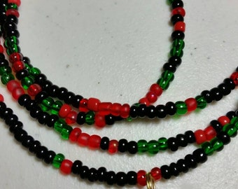 Black Peace Red Black Green Liberation Waist Beads Belly Beads Belly Chain African Waist Beads Pan African Gold Peace Coin Charm