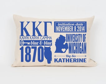 Kappa Kappa Gamma Custom Sorority Facts Pillow // Greek Letter Pillow // Big Little Gift // Sorority Letters // Sorority Gift // Dorm Decor