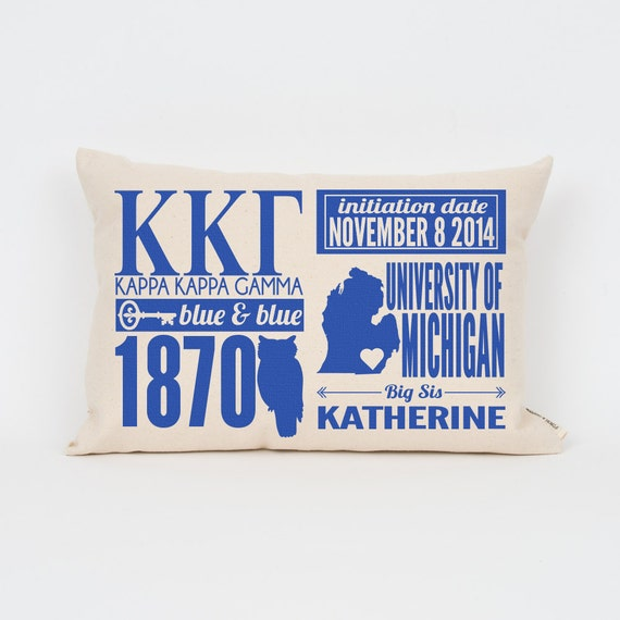 kappa kappa gamma custom sorority facts pillow greek letter pillow big little