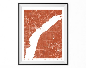 Fort Myers Map Art Print / Fort Myers City Poster / Fort Myers Wall Art / Florida/ Gift / Florida home decor