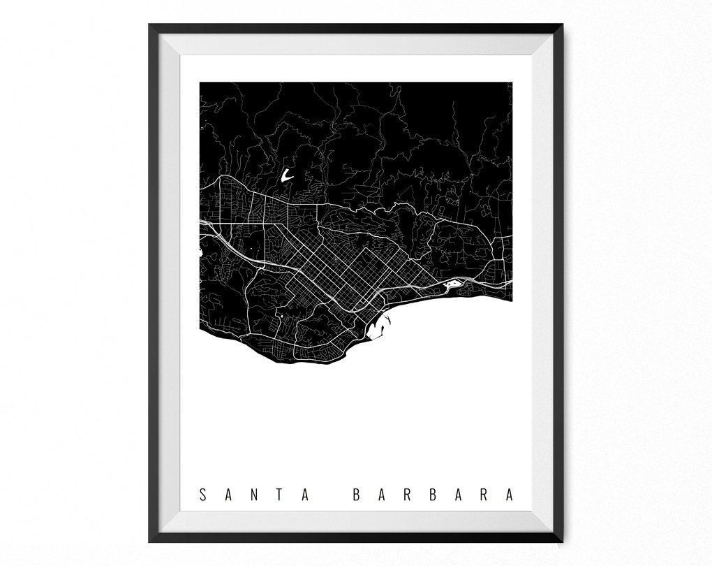 Santa Barbara Map Art Print Santa Barbara City Poster