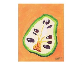 Cherimoya, Original, 8 x 10, Acrylic on Canvas, Orange