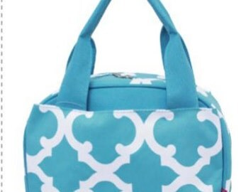 Aqua Clover,  Lunch Box, Lunch Tote, Thermal Insulated, Monogramed