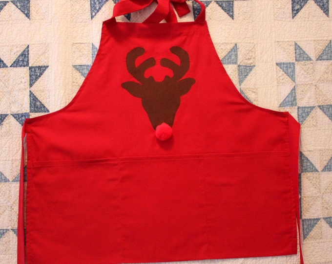 HALF PRICE ** Rudolph the Red Nosed Reindeer Adult Christmas Apron. Fun Cheery Red Linen Apron with Rudolph and his Big Red Pompom Nose!
