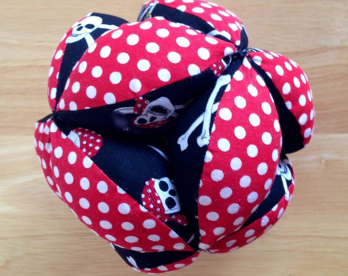 HALF PRICE ** Baby Clutch Ball. Pirate and Red Dot Puzzle Ball. Montessori Puzzle Clutch Ball. Soft and Safe for indoor Kid's and Baby Play
