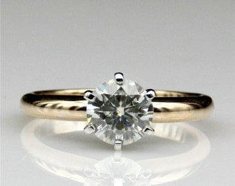 1ct Moissanite Round Esdomera Solitaire 6-Prongs 14k Two Tone Gold Engagament Ring (CFR0415-ESMS1CT)