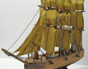 "Wooden Sailing Ship Boat Vintage 8"" x 8"""