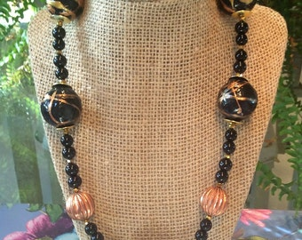 SALE! Black and gold handpainted Paper mâché , chunky necklace with copper beads