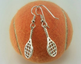 Sterling Silver Tennis Racket Earrings, Tennis Dangle Earrings, Tennis Jewelry, Tennis Racket, Tennis Player Gift