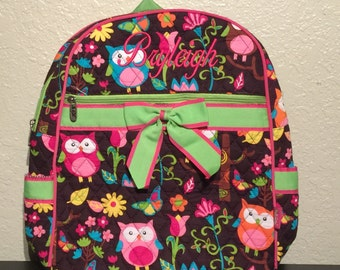 Owl Print Quilted Monogrammed Backpack Lime Green Trim