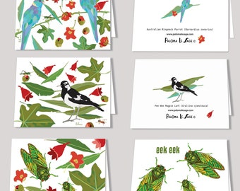 Illawarra Rainforest Pee Wee Ringneck Parrot or Cicada Blank Greeting Card