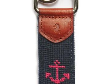 Pink Anchor Needlepoint Key Fob