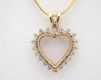 0.25 Carat T.W. Ladies Round Cut Diamond Heart Necklace 14K Yellow Gold