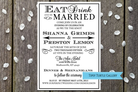 Wedding Invitations Eat Drink And Be Married: Printable Wedding Invitations Eat Drink And Be Married