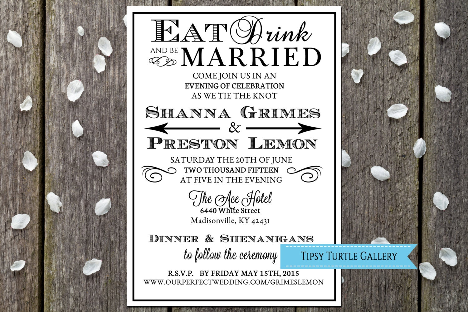 Printable Wedding Invitations, Eat Drink And Be Married, Bridal Shower  Invitations, Wedding Invitations, DIY Wedding Invitations