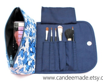 Bright Blue Large Floral Makeup Bag with a Brush Holder and Magnetic Button!
