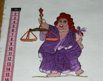 magnificent old french embroidery,vintage.  pièce ancienne de tissu brodé main. sign of the modern zodiac . The Scales