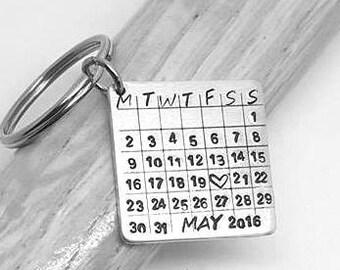 Calendar Keyring - Special Date Keepsake - Hand Stamped Keyring