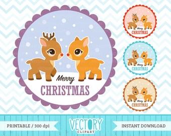 4 Reindeer Christmas Images, Reindeer Clipart, Merry Christmas Deer Clip Art set by VectoryClipart