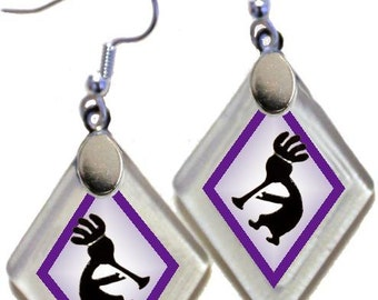 "Earrings ""Kokopelli"" from rescued, repurposed window glass~Lightening landfills one tiny glass diamond at a time!"