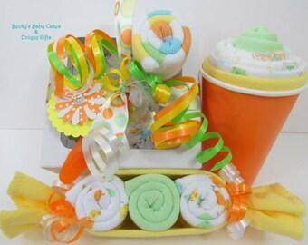 Neutral Onesie Cupcake Gift Set, Washcloth Peapod, Lollipop Washcloth, Washcloth Milkshake