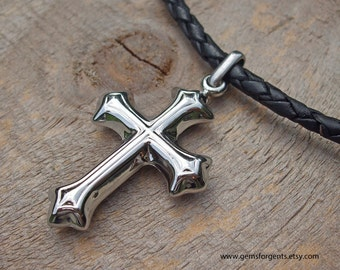 Stainless Steel Cross Pendant Leather Necklace, Mens Leather Necklace, Leather Jewelry – LN6