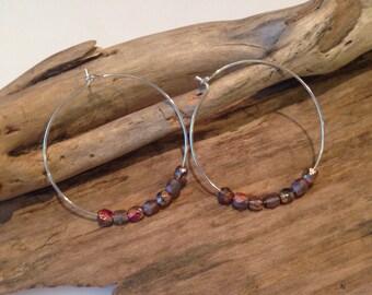 Hoop Earrings, Plum/Berry Beaded Hoop Earrings, Etched Berry Silver Hoops, 1.5 inch Round Hoop Earrings, Lead Free, Boho Earrings,