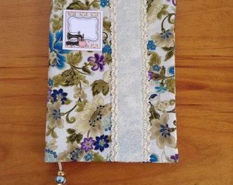 BLUE FLOWERS handmade book cover, fabric book cover, book accessories,