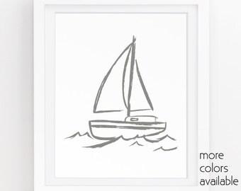 Gray and white wall art, Nautical art, Boat painting, Sailboat print, Boat wall art, Sea decor, Minimalist wall decor 5x7, 8x10, 11x14, 223b