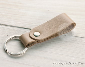 Natural leather keychain genuine leather key fob mens leather keychain thick leather key holder belt strap leather keychain leather key ring