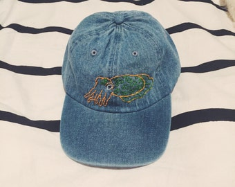 Cuttlefish Custom Embroidered Denim Baseball Cap